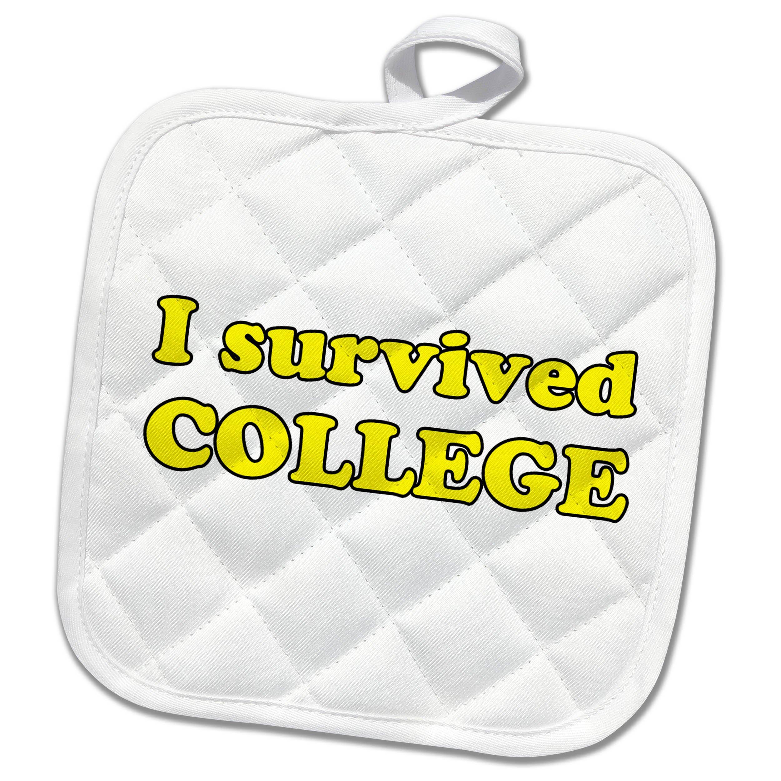 3dRose Student Humor - I Survived College Yellow - 8x8 Potholder (phl_274510_1)