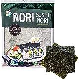 KIMNORI Sushi Nori Seaweed Sheets – 10 Full Size USDA Organic Yaki Roasted Rolls Wraps Snack 100% Natural Laver Gluten Free N