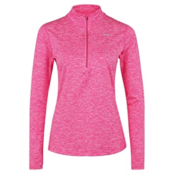 f972a18ffa6f Nike Womens Dry Element Half Zip Running Top Vivid Pink Reflective Silver  Size X-