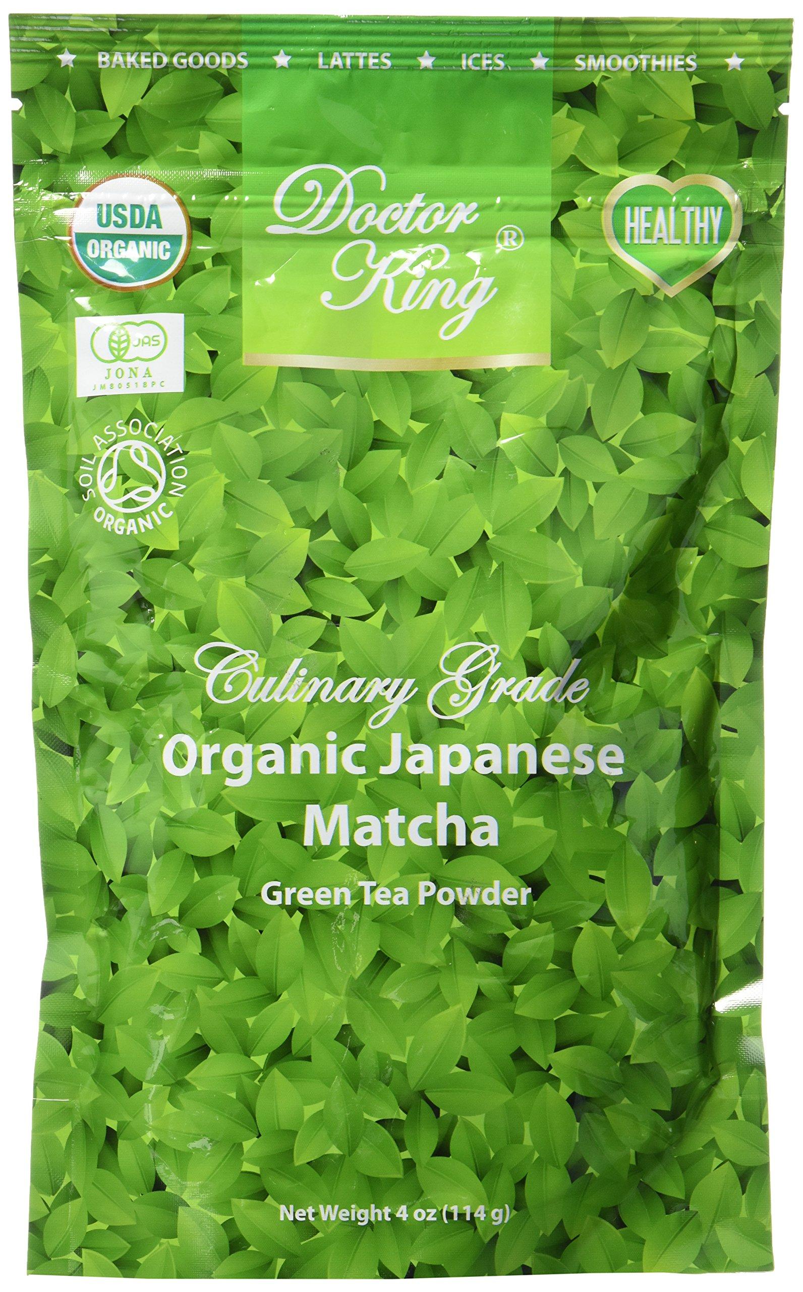 DOCTOR KING Organic Japanese Matcha Green Tea Powder | Culinary Grade | Matcha Lattes, Matcha Smoothies, Baking | Net Weight 4 oz (114 g)