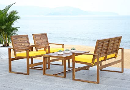 Marvelous Safavieh Home Collection Hailey Outdoor Living 4 Piece Acacia Patio Furniture Set Brown And Yellow Home Interior And Landscaping Fragforummapetitesourisinfo