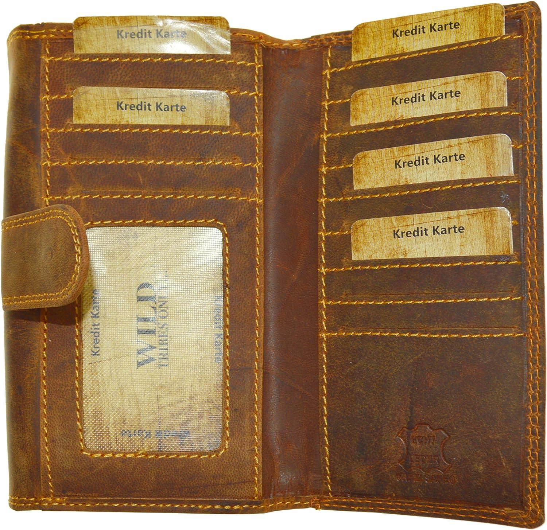 Portemonnaie Damen Nappa Leder Geldbeutel mit 24 Kartenf/ächern in 7 Farben Blume