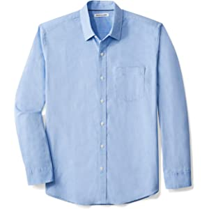 6885099041931d Amazon Essentials Men's Regular-Fit Long-Sleeve Solid Casual Poplin Shirt