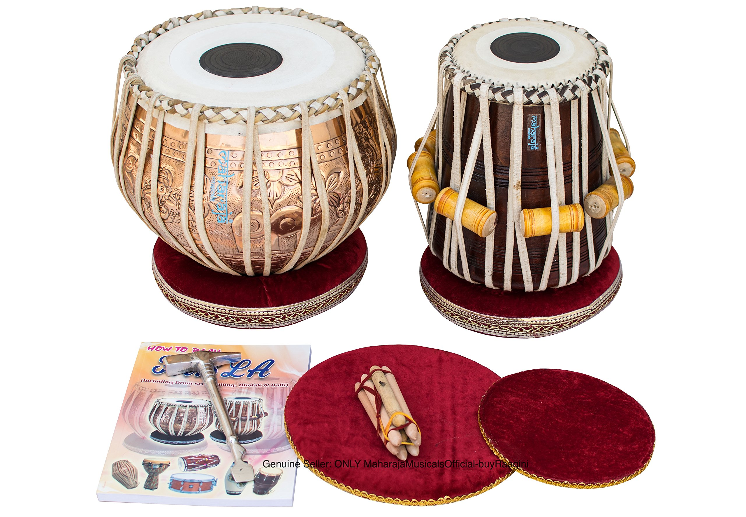 Maharaja Musicals Tabla Set, Professional, 3.5 Kg Copper Bayan - Flower Design, Sheesham Dayan - C Sharp, Padded Bag, Hammer, Cushions, Cover, Tabla Hand Drums Indian (PDI-BHJ) by Maharaja Musicals