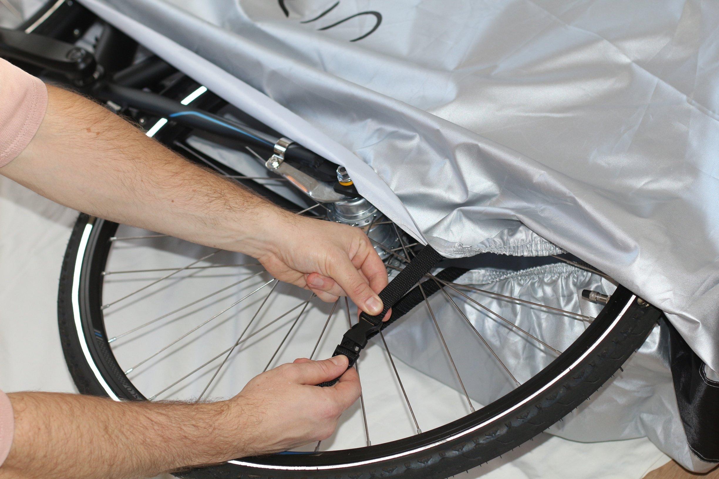 Fahrradabdeckung: Wasserdicht, 300D Oxford, Nylon, Für Zwei Fahrräder mit Befestigungsschnalle und eine Aussparung für das Fahrradschloss, inklusive Eines Aufbewahrungsbeutels