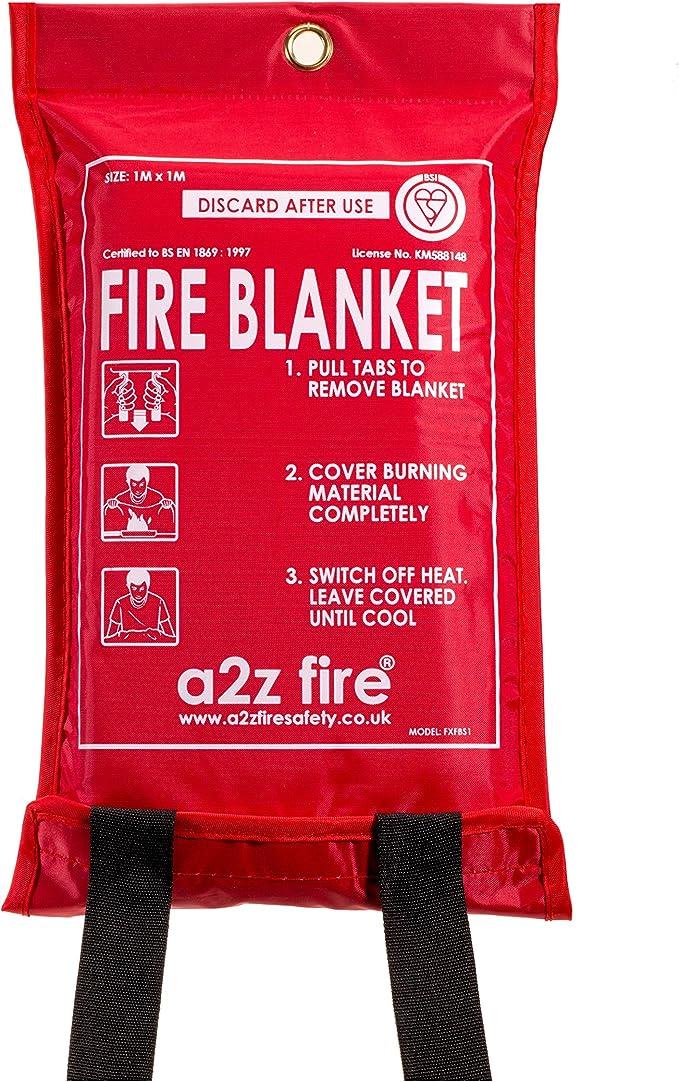 A2Z Fire A2Z1MEFB Manta ignífuga de liberación rápida, Color Rojo, 1 x 1 m