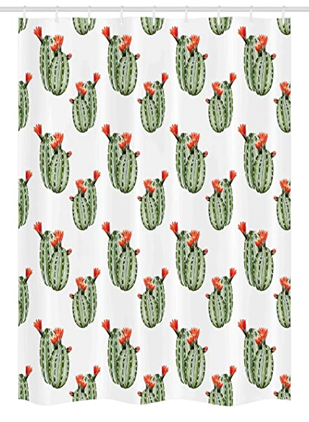 Reed Plants With Green Leafs Flowers Bathroom Shower Curtain Polyester /& Hooks