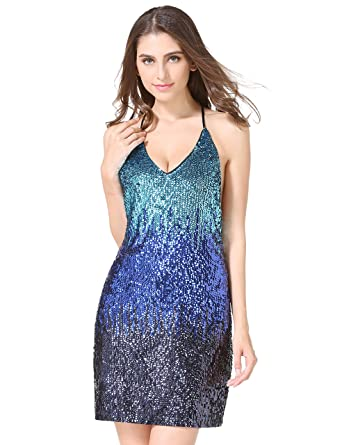 Womens Glitter Sequin Gowns Backless V Neck Party Sexy Mini Clubwear Prom Dress Not Itching(