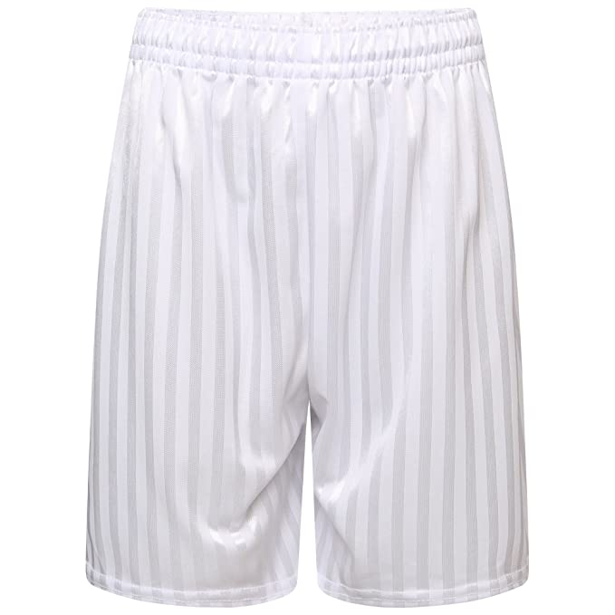 L= MENS, WHITE Football Shadow Stripe Shorts School Uniform Sports P.E Boys Girls & mens
