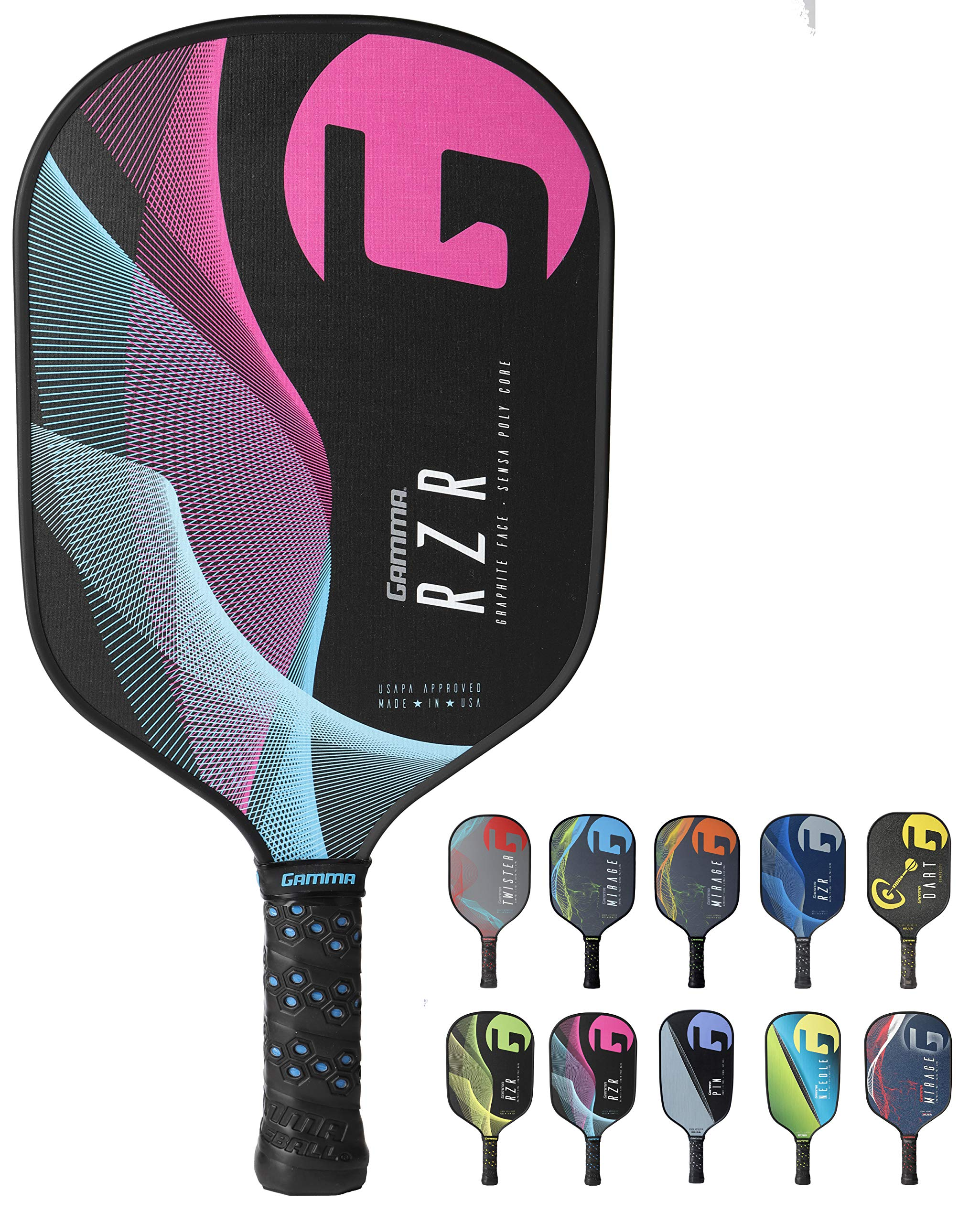 Gamma RZR Composite Pickleball Paddle: Pickle Ball Paddles for Indoor & Outdoor Play - USAPA Approved Racquet for Adults & Kids - Pink/Blue by Gamma (Image #1)