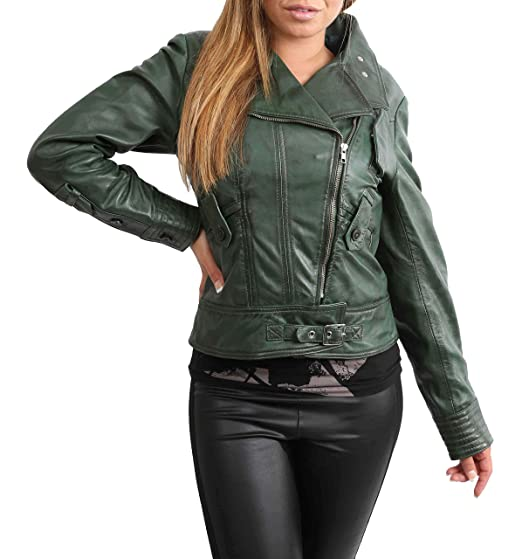0c821b936693 Womens Cross Zip Slim Fit Biker Style Genuine Leather Jacket Hetty Green  (X-Small