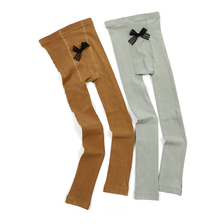 385dc011bd2b7 Amazon.com: Girls Knit Footless Tights Toddler Kids Ankle Length Leggings  Pants 2 Pack (Light Green & Caramel) Size L: Clothing