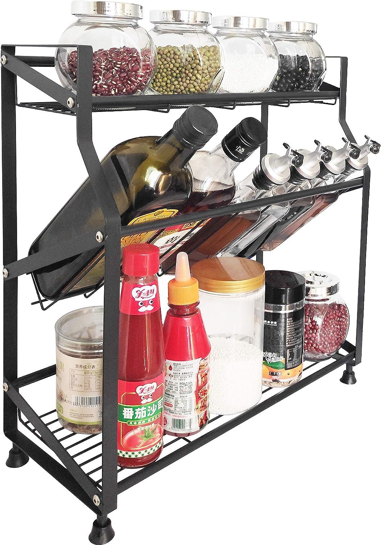 3 Tier Spice Rack Organizer - Kitchen Countertop Storage Organizer for Seasoning Can Jars Bottle (Black)