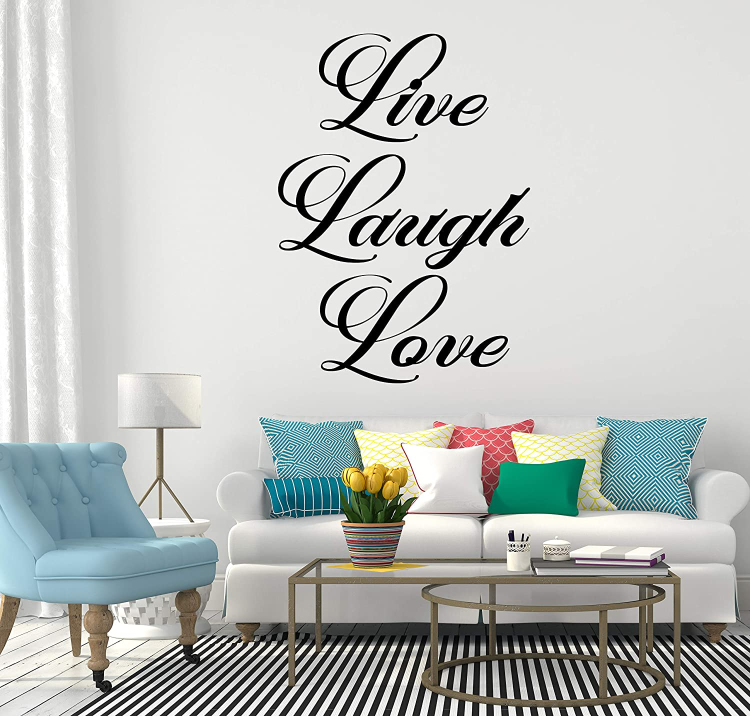 LARGE   WALL QUOTE LIVE LAUGH LOVE STICKER ART TRANSFER DECAL