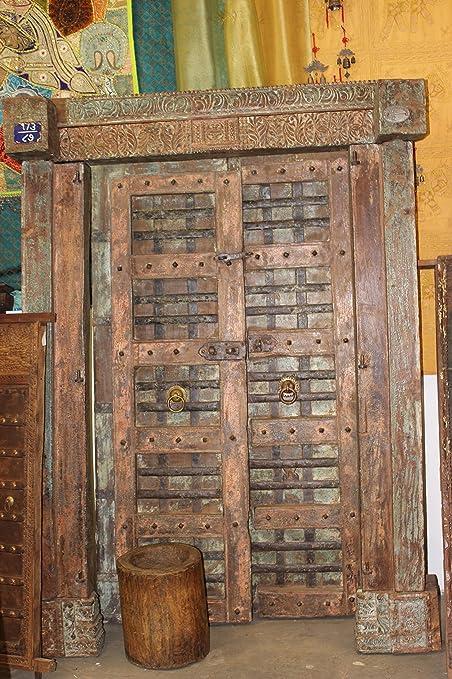 Mogul Antique India Doors NATURAL DISTRESSED Rustic Vintage Teak Iron  Carved Architecture Barn Doors SPANISH Hacienda - Amazon.com: Mogul Antique India Doors NATURAL DISTRESSED Rustic