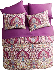 VCNY Home Alicia Bohemian Paisley 8 Piece Bag Bedding Comforter Set, Queen, Multi