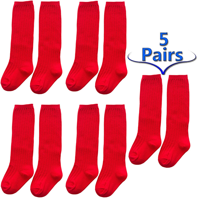 BandTie 5-Pack Unisex Boys Girls Cotton Crew Tube Sock Casual Knee High Socks