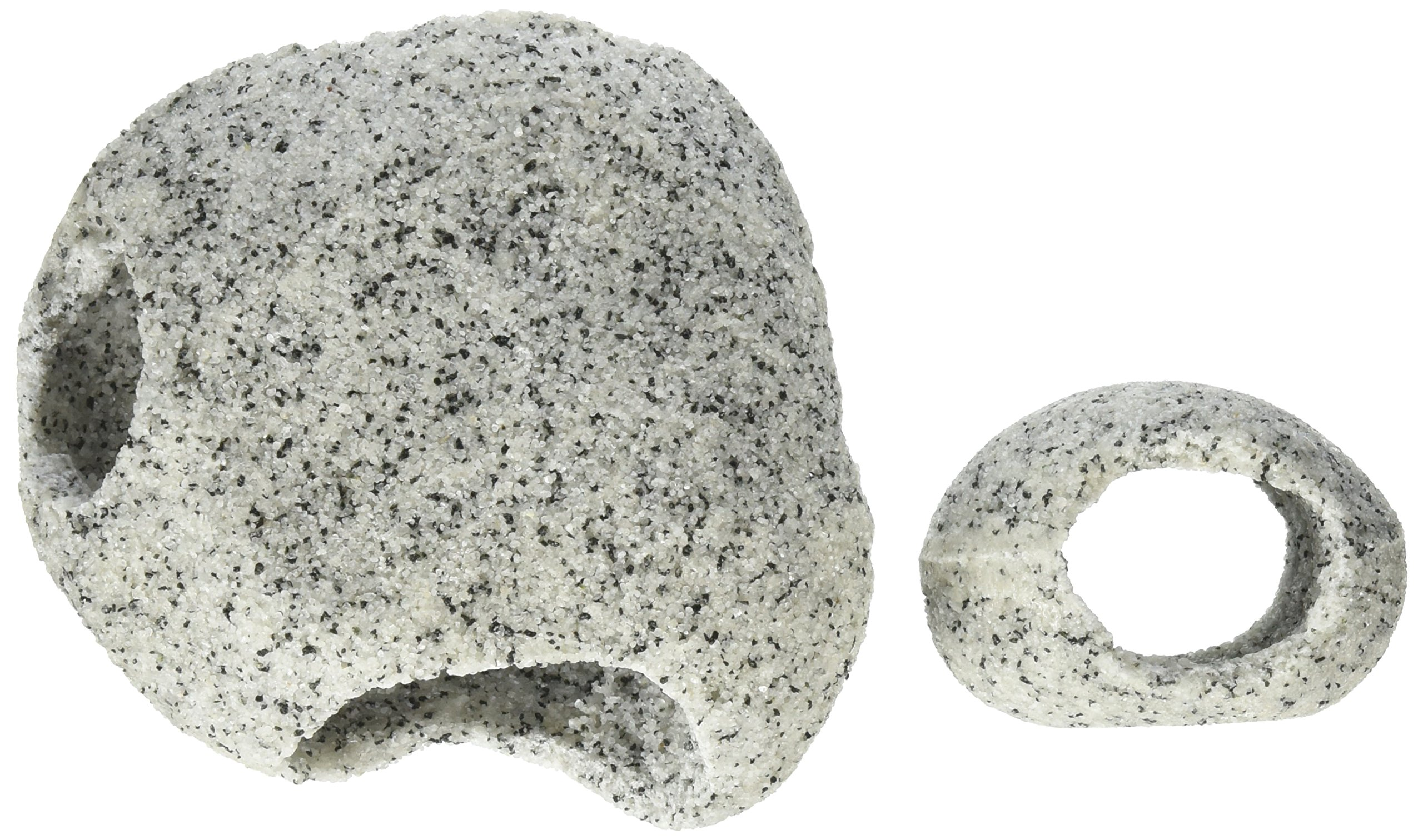 Penn Plax RR1074 Stone Replica Aquarium Decoration Realistic Granite Look with Fish Hideaway 2 Piece Set Size Small/Medium