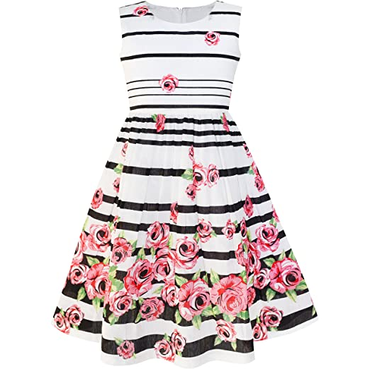 d6002bd9f Vestido para niña Negro Rayado Rosa Flor Sol 11-12 años  Amazon.es  Ropa y  accesorios