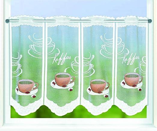 """Kamaca-Shop - Tendine decorative accorciabili da bistrot, modello""""Coffee  break"""", con coulisse per asta, tende da cucina, con meravigliosi motivi  fatti ..."""
