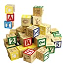 Wooden ABC 123 Building Blocks Kids Alphabet Letters Numbers Bricks Toy Set (ABC and 123 Blocks)