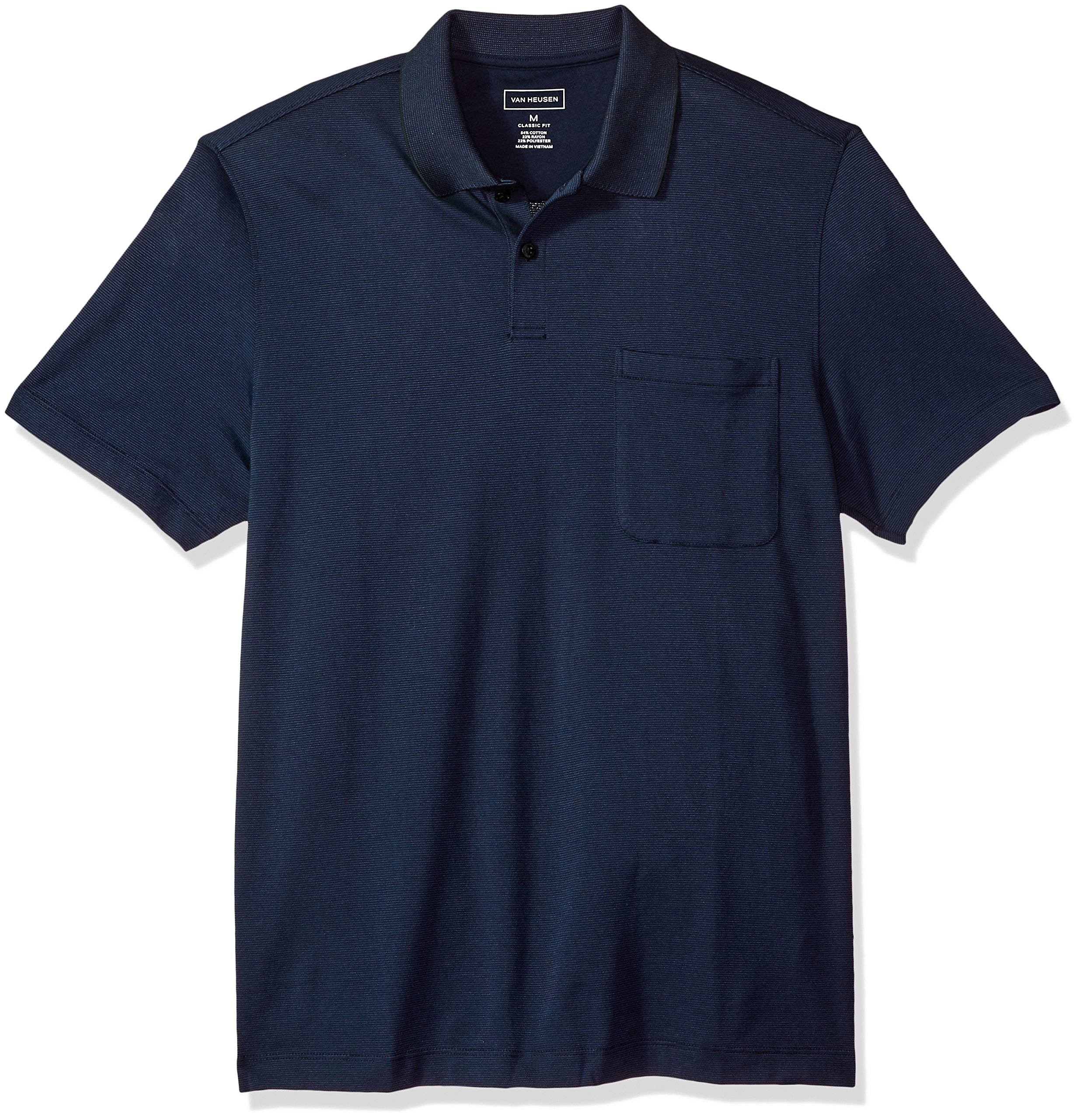 Van Heusen Men's Jacquard Stripe Short Sleeve Polo, Majestic Blue, X-Large