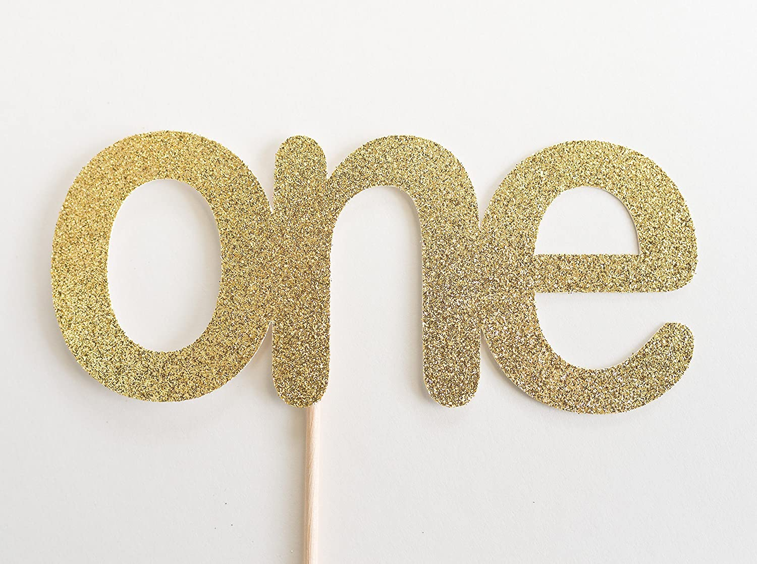 Gold Glitter One Cake Topper, First Birthday, 1st, Cake Smash, Party, Gold Glitter, Calligraphy, Cursive, I am one