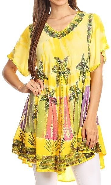 Sakkas 70SE Alohanani Caftan vestido/Cover Up - Amarillo - Un tamaño