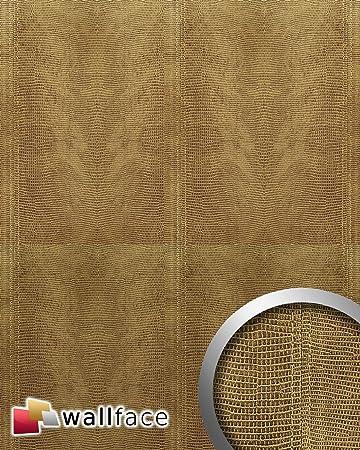 WallFace 15009 LEGUAN Design Leder Blickfang Dekor Echtnaht Wandpaneel  Selbstklebende Tapete Wandbelag Gold | 2,