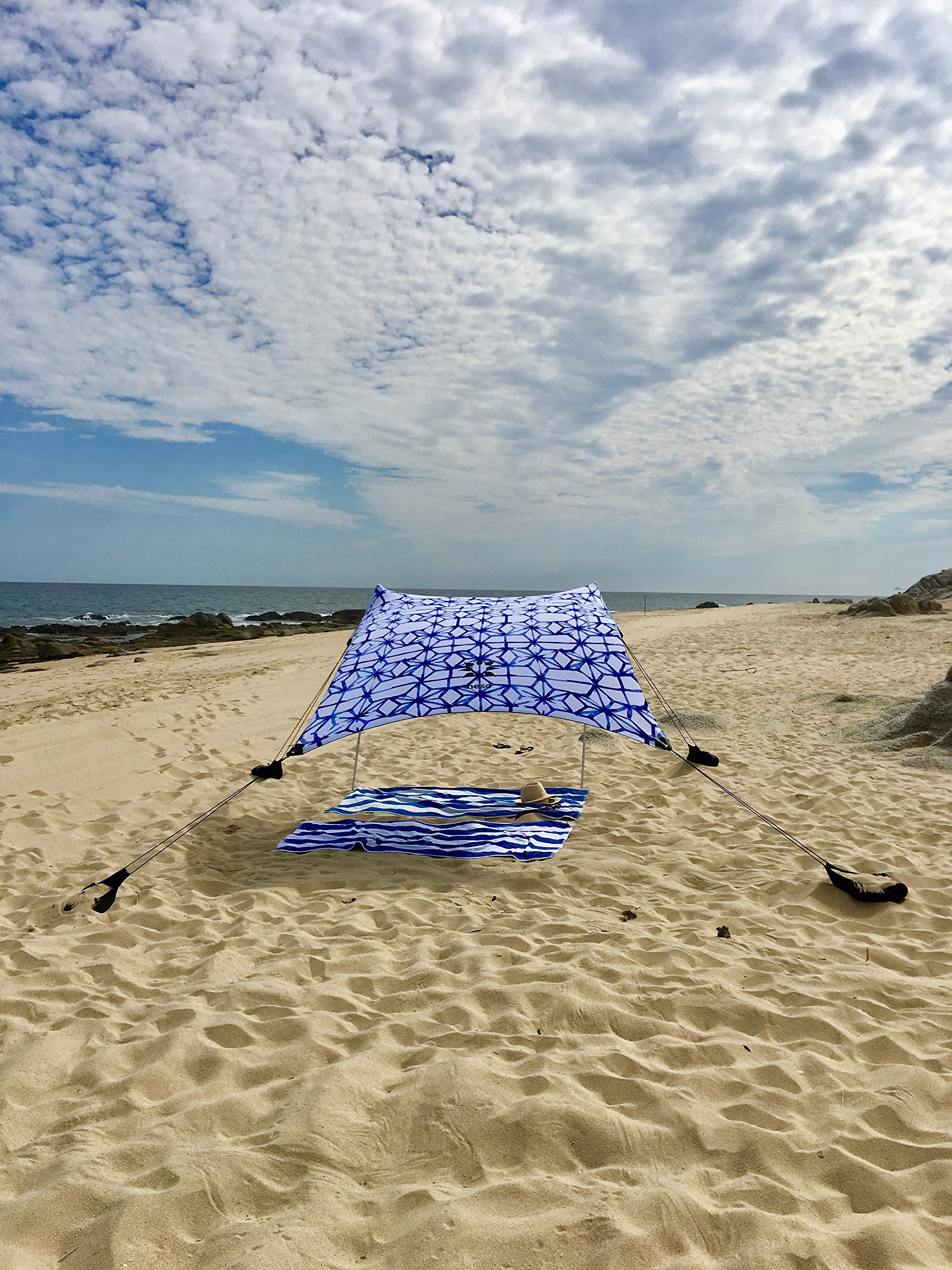 Neso Tents Beach Tent with Sand Anchor, Portable Canopy Sunshade - 7' x 7' - Patented Reinforced Corners(Shibori) by Neso