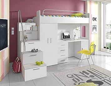 Kinderzimmer Mit Etagenbett : Furnistad kinderzimmer komplett sky kinder hochbett mit treppe