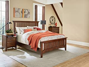 OSP Home Furnishings Modern Mission Vintage Oak Bedroom Set with 2 Nightstands and 1 Chest, King