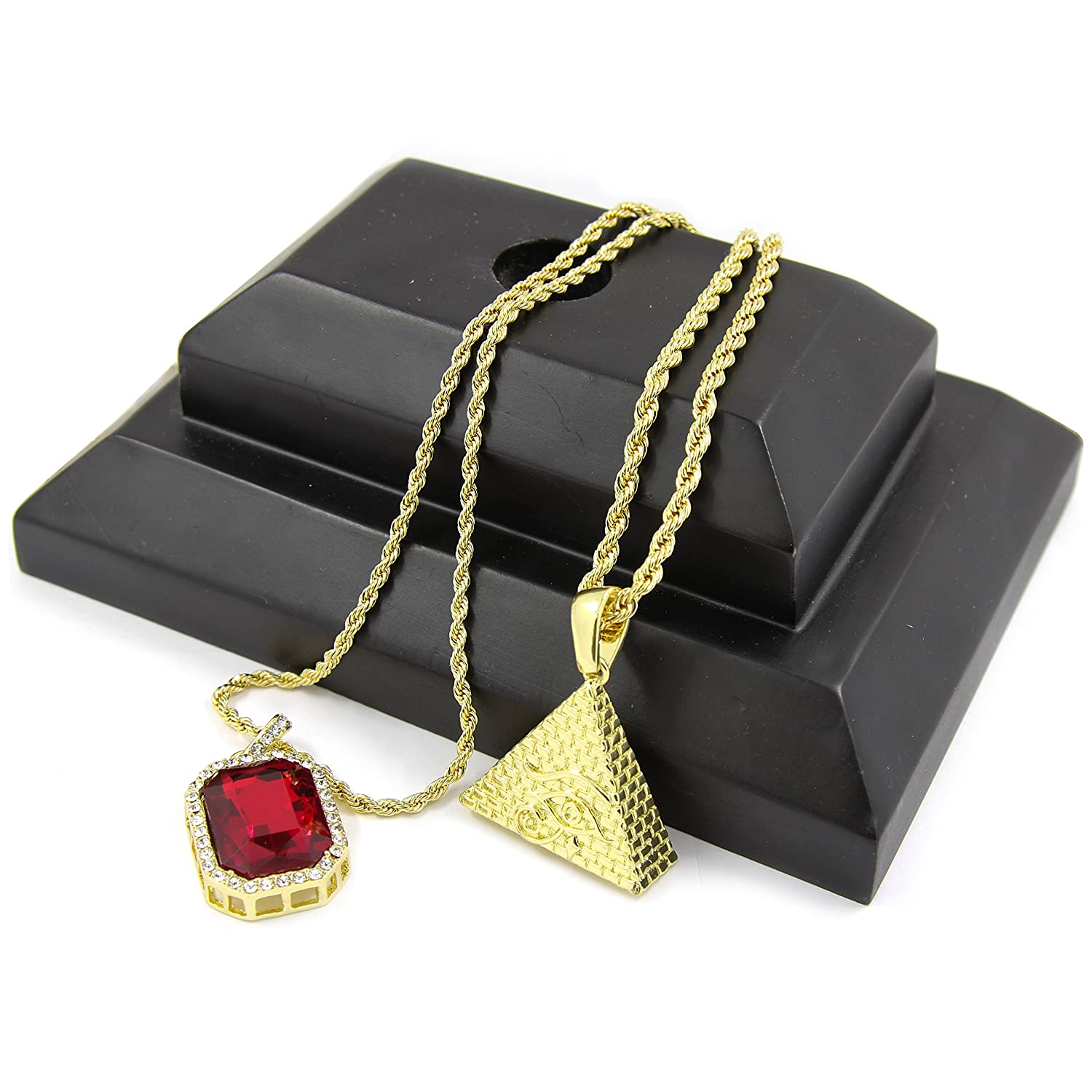 Gold Tone Eye of Horus Egyptian Pyramid & Red Ruby Rope ...