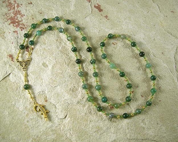 Amazon com: Sobek Prayer Bead Necklace in Moss Agate: Egyptian God