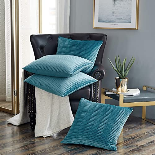 Home Soft Things Serenta Pleated Velvet 4 Piece Pillow Shell Set, Storm Blue, 20 x 20