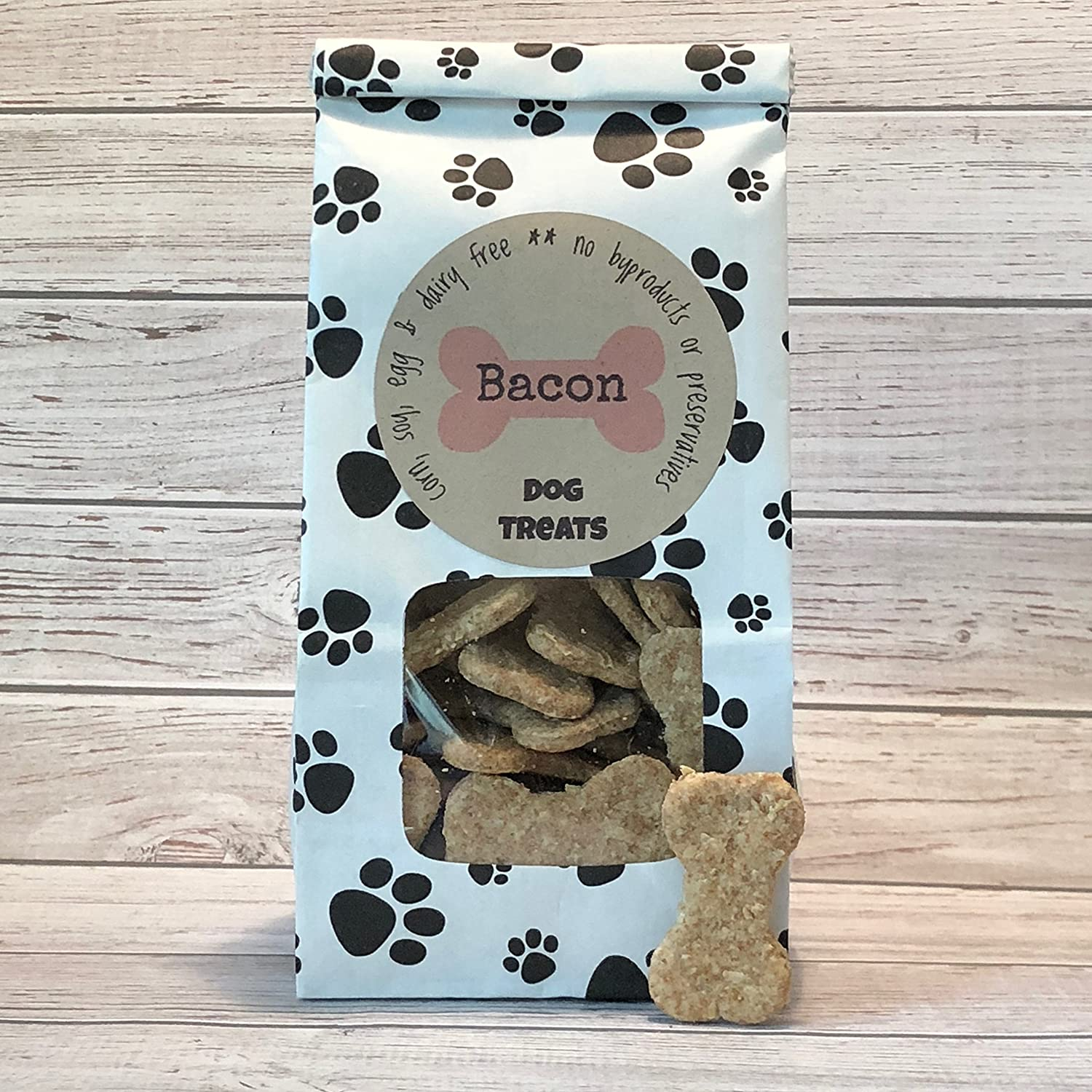 5 oz Bacon Dog Treats/Handmade/Corn Soy and Dairy Free/Egg Free//No Added Preservatives, Fillers or Color