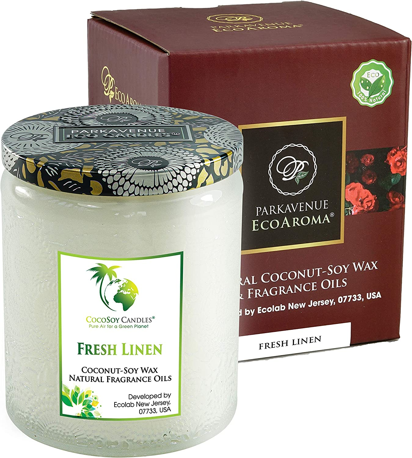EcoAroma Fresh Linen & Apple Blossom Luxury Scented Organic Coco-Soy Jar Candles, 3D Flower Patent Color Jar Hand Poured Coconut Soy Aromatherapy Candles Home Decorative Gifts 8 Oz