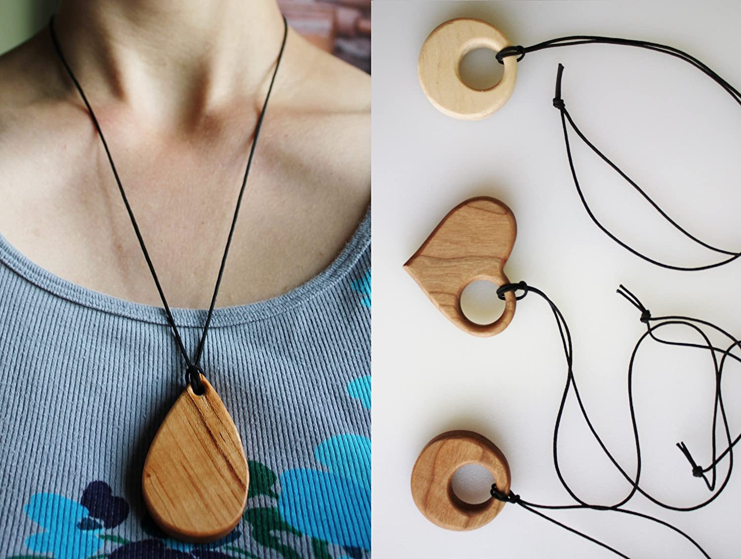 Wooden Cherry Teardrop Teething Necklace