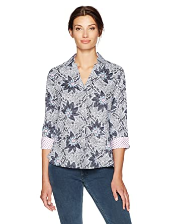 c5f2d872fdc Foxcroft Women s Plus Size Taylor Floral Wrinkle Free Shirt at ...