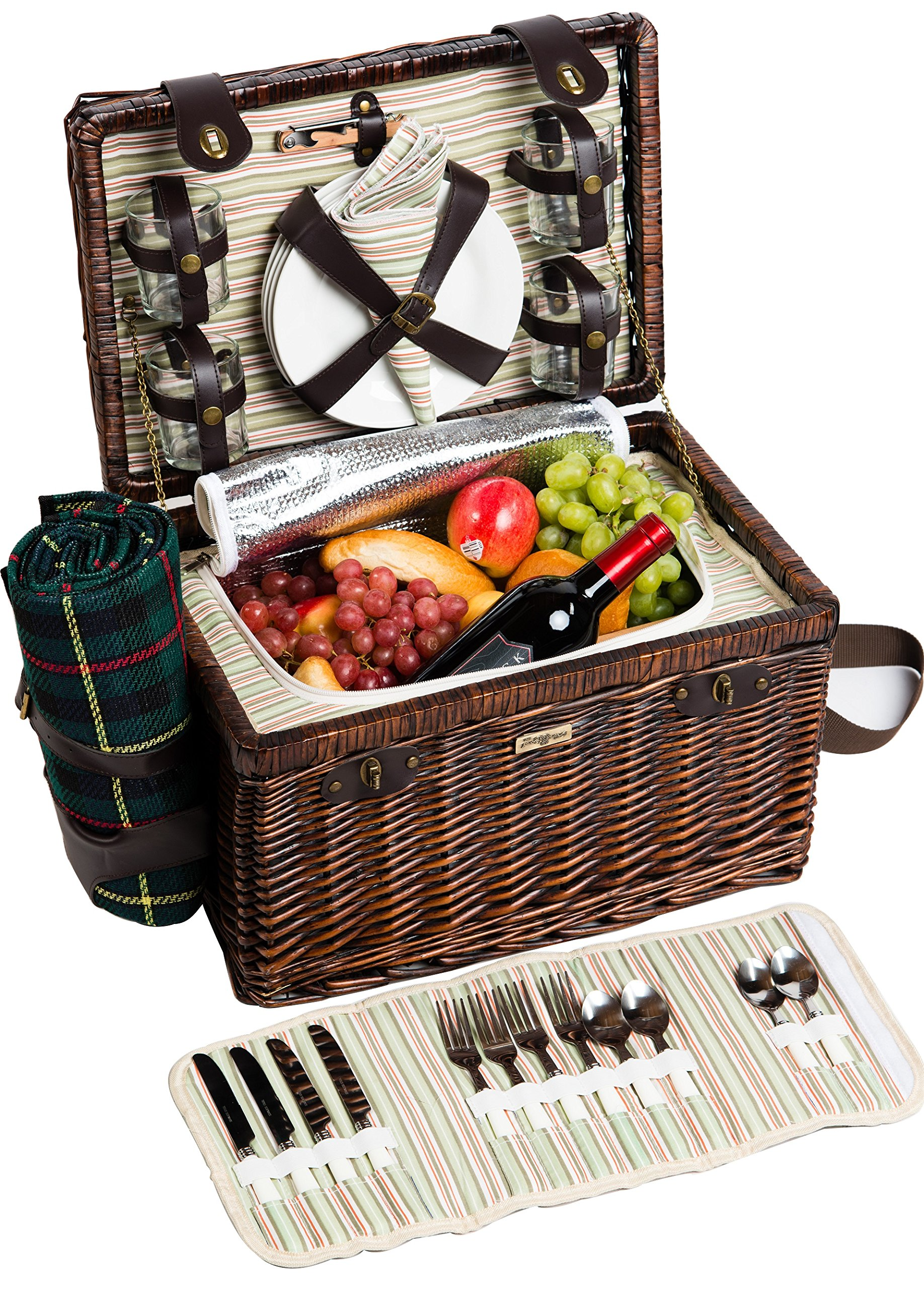 Picnic & Beyond Enchanted Evening Collection - (A) 4 Person Willow Picnic Basket