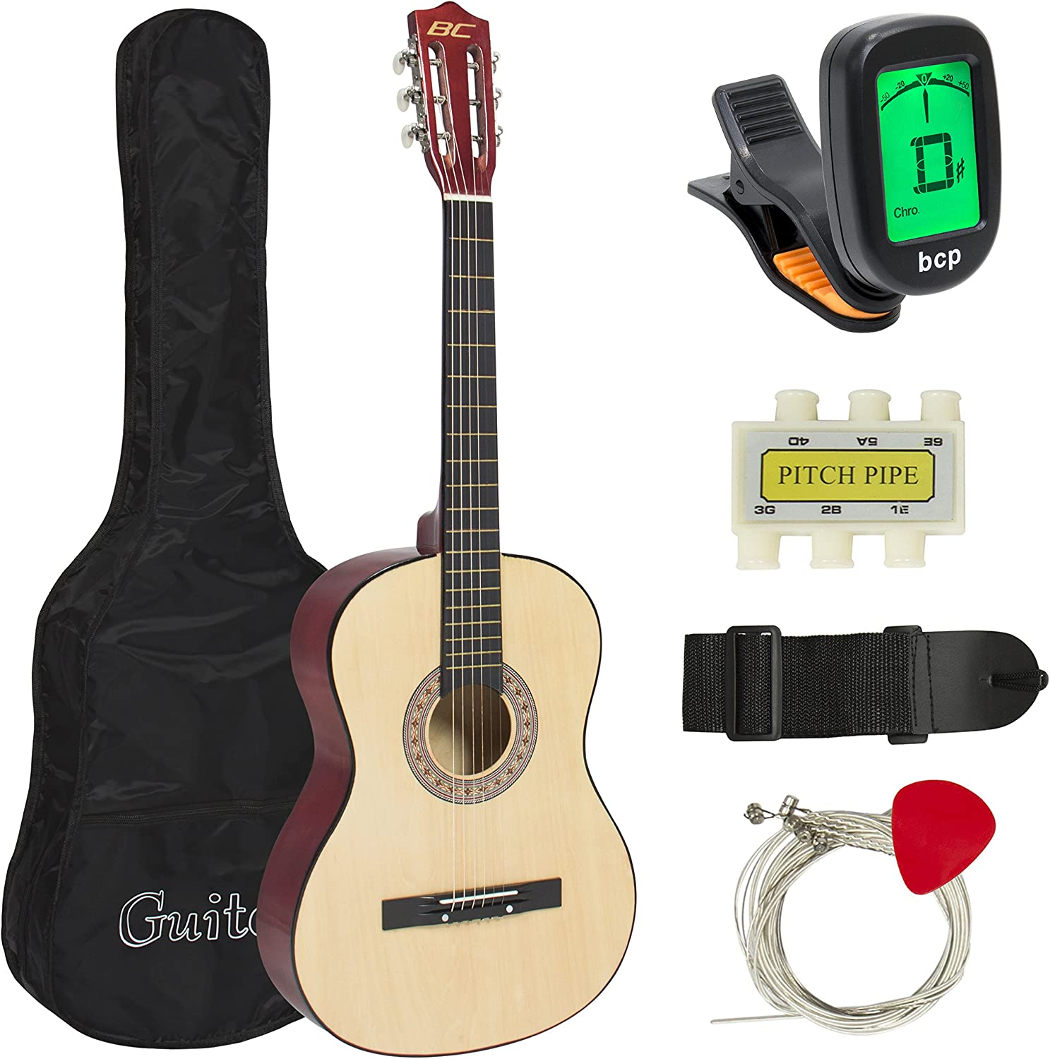 Best Choice Products 38in Beginner Acoustic Guitar Starter Kit w/Case, Strap, Digital E-Tuner, Pick, Pitch Pipe, Strings (Natural)
