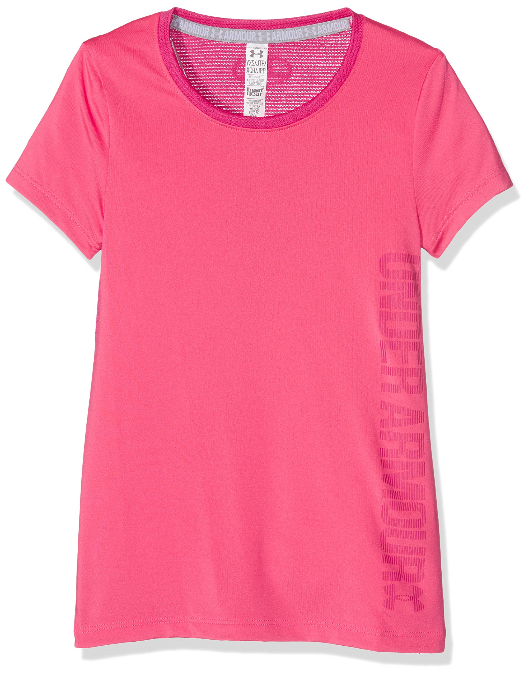 Under Armour Girls' Armour Short Sleeve Shirt, Gala /Honeysuckle, Youth X-Small
