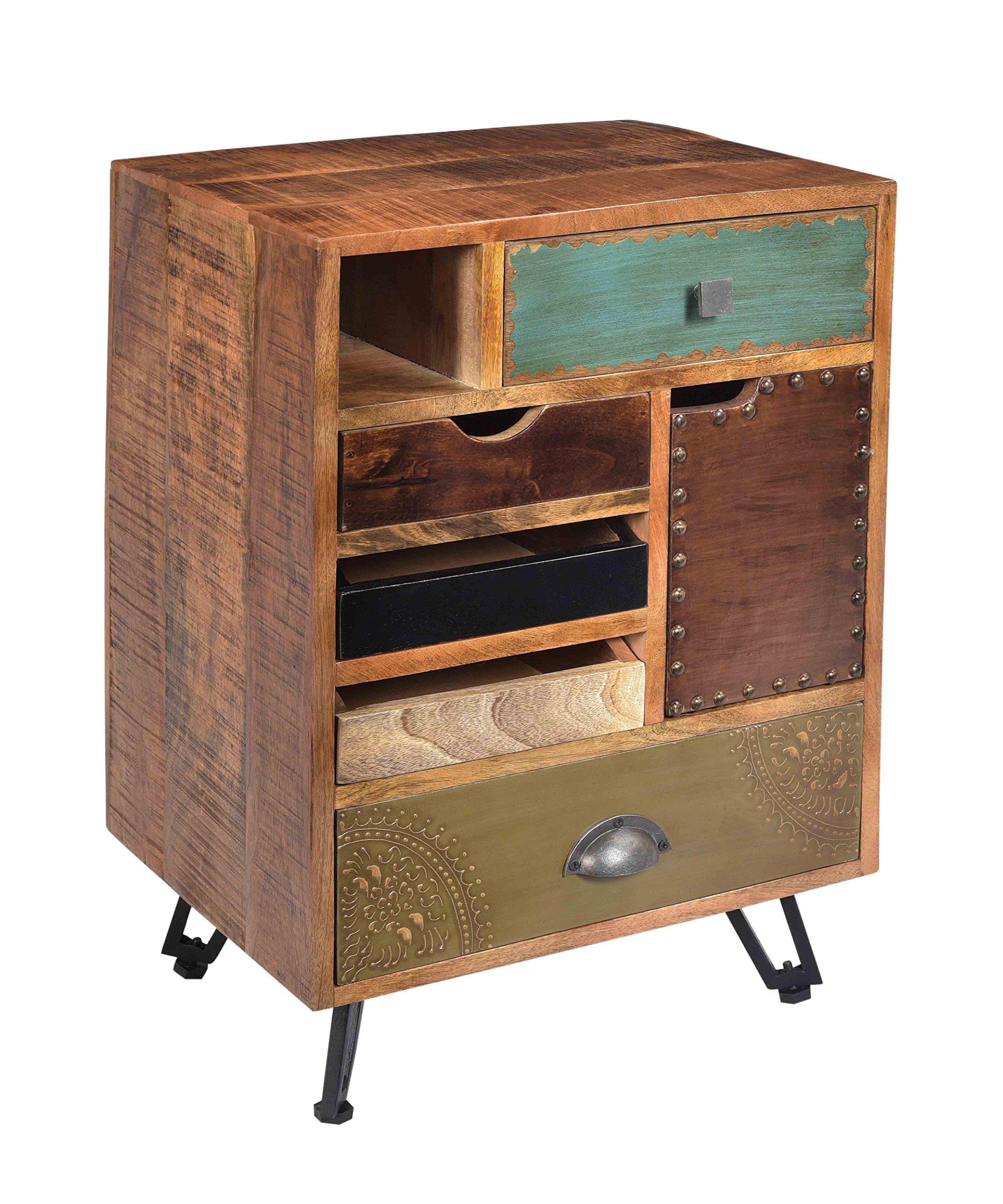 Treasure Trove Accents 17660 Brisbane Five Drawer One Door End Table, Multicolored