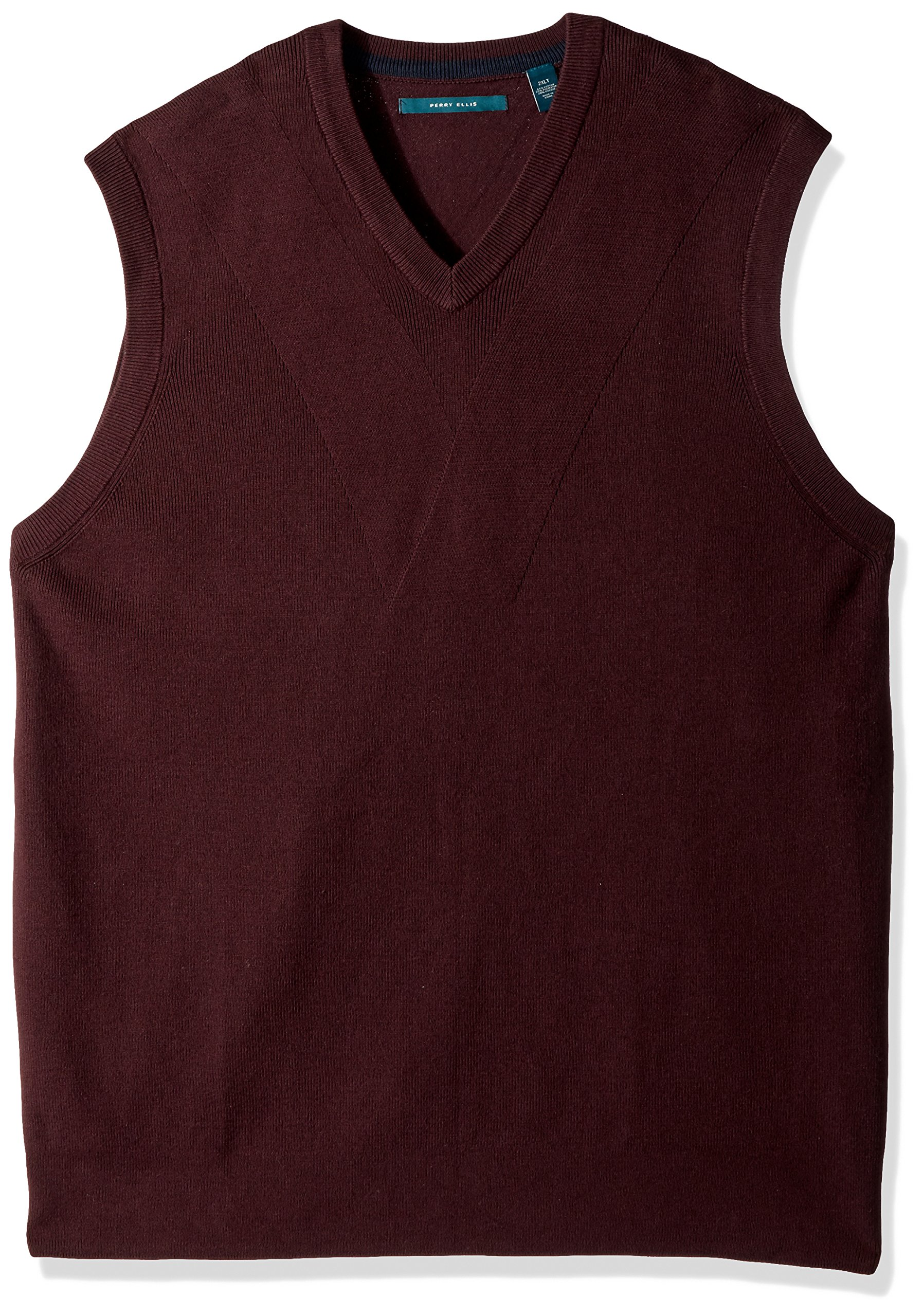 Perry Ellis Men's Big and Tall Pullover V-Neck Sweater Vest, Port, 3X