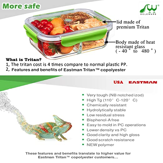 Amazon.com: SELEWARE 2 Compartment Glass Food Storage Containers With  Tritan Snap Locking Lids, BPA Free, Airtight, Leak Proof, Microwave, Oven,  Freezer, ...