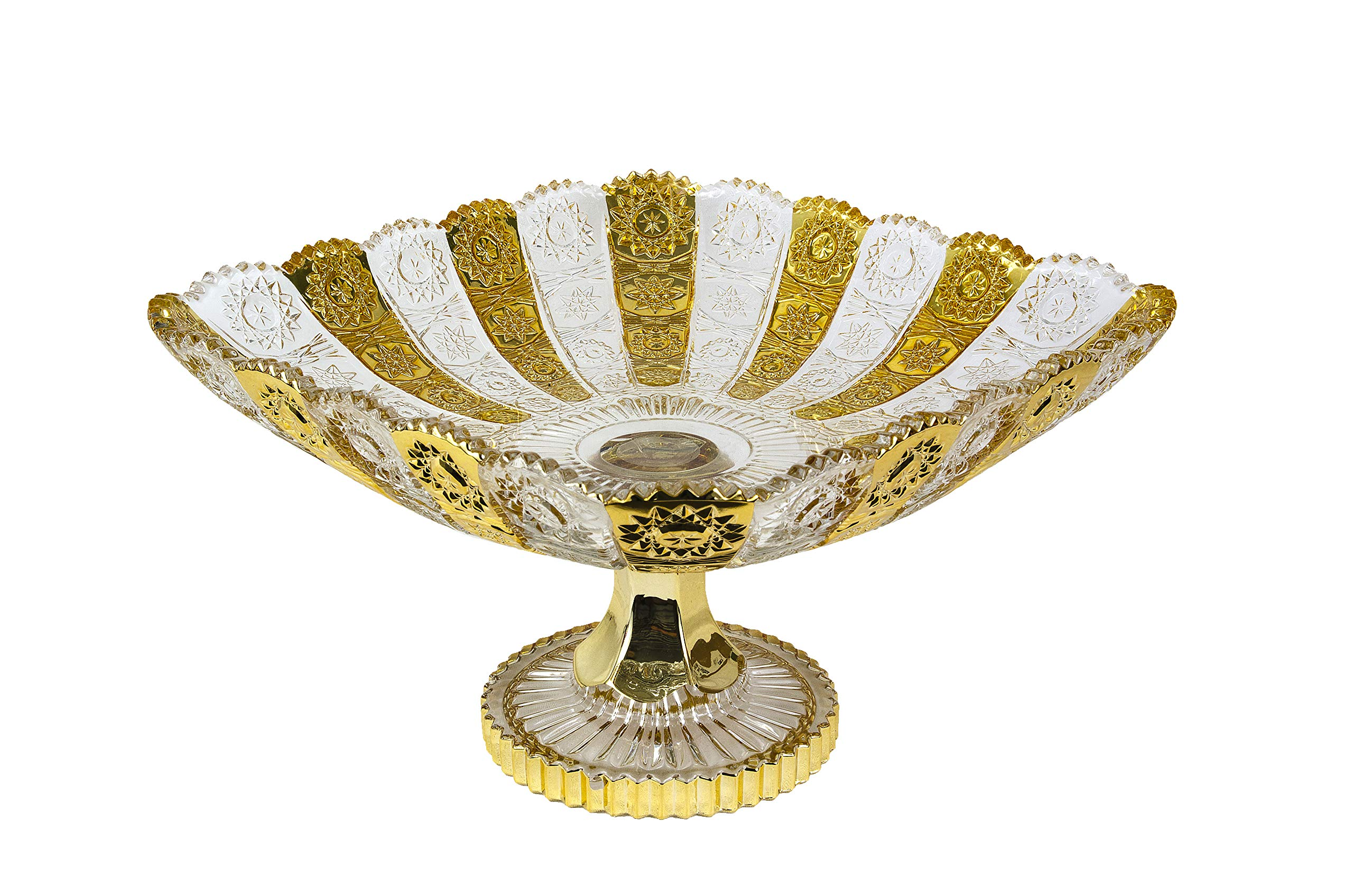 Pars Collections New Elegant Crystal Glass Centerpiece Serving Footed Square Bowl for Home, Office, Décor, Serving Fruit or Desert (Gold)