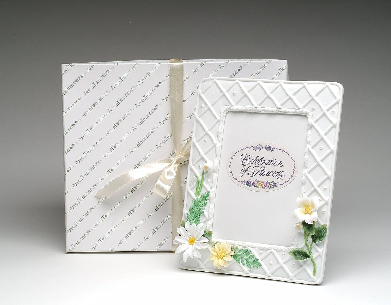 10-1//2H Fine Porcelain Daisy Flowers with Ferns Design 5x7 Photo Frame