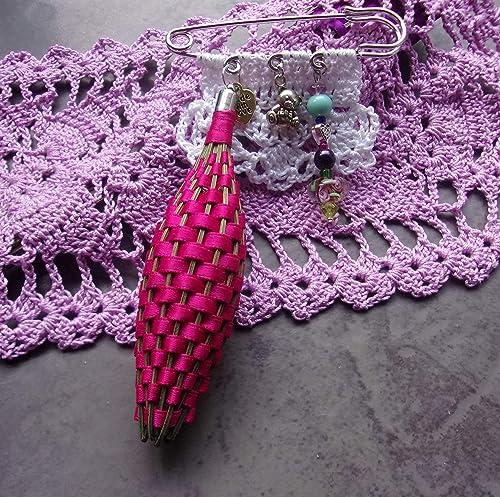 Hand Crocheted Basket Full of Flowers Brooch