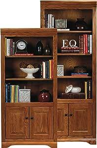"Eagle Oak Ridge Open Bookcase with Doors, 72"", Light Oak Finish"
