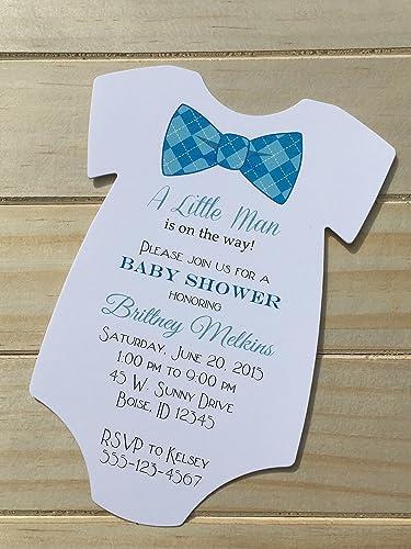 Amazon Com Set Of 10 Bow Tie Baby Shower Invitations Many Bow Tie